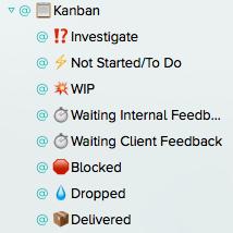 My OmniFocus kanban contexts